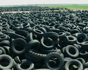 Scrap tire piles litter North America, approx 3 billion.